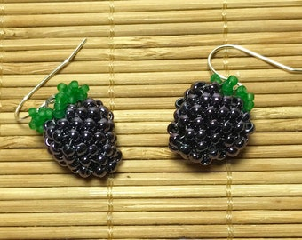 Fruit Bead Earrings Purple Bead Earrings Blackberry Earrings Seed Bead Earrings Beadwoven Earrings Beadwork Earrings Grape Bead Earrings