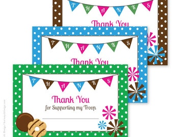 Cookie sales business cards polka dot printable download cookie fundraiser banner thank you notecards perfect for your school or scout cookie fundraiser colourmoves Image collections