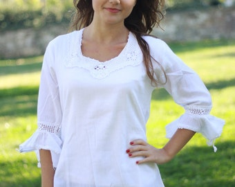 White blouses, Womens blouses, White cotton tops for womens
