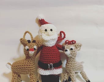 Rudolph the Red Nose Reindeer Christmas tree decorations **HandMade**