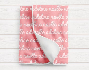 Personalized Baby Blanket / Baby Girl Shower Gift / Custom Name Blanket by South + Willow Design