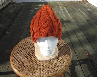 Rust Cable Knit Hat