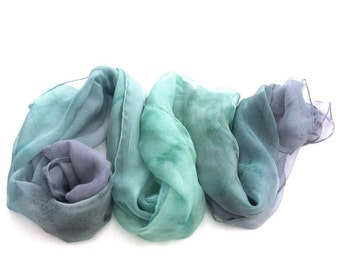 Ombre silk scarf hand painted pastel green silk scarf gift for her