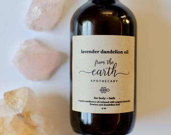 Lavender Dandelion Body + Bath Oil | pain relief, organic herbal infused sunflower oil, moisturizer, relaxing stress relief, self care