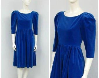 Vintage 80s Royal Blue Velvet Dress, Midi Dress, Puff Sleeve Dress, Full Skirt Dress, Tea Length Dress, Princess Dress, Petite Dress