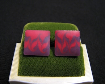 Vintage Square Red and Maroon Purple Swirled Enamel Pierced Earrings
