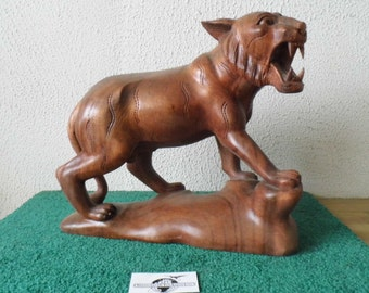 Hand Carved Wood Lion