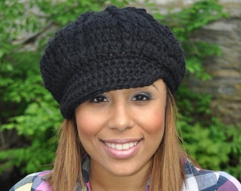 Black Newsboy Hat - Crochet Hat with Brim - Black Hat - Winter Hat for Women - Black Brimmed Hat