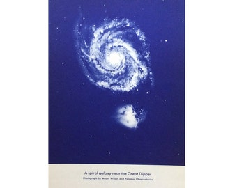 1934 SPIRAL GALAXY PRINT - near the great dipper - original vintage celestial astronomy lithograph print
