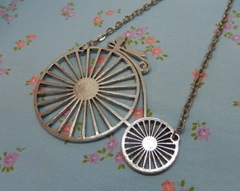 Huge Penny Farthing Bicycle Antique Silver Pendant Necklace