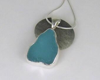 Aqua Sea Glass Bezel Pendant Necklace Maine