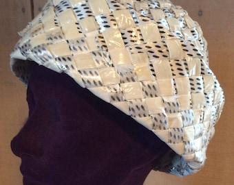 1960's Women's Hat - Asymmetrical Taffeta Straw Hat - Vintage spring hat