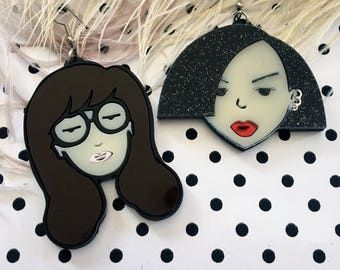 Daria and Jane Cartoon Laser Cut Acrylic Earrings, Laser Cut Acrylic, Plastic Jewelry