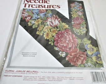 Counted Cross Stitch Kit Floral Jubilee Bell Pull Embroidery Kit Needle Treasures Decorative Wall Hanging Home Decor Cross Stitch Bell Pull
