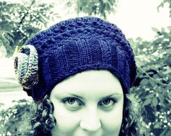 Blue crochet hat, beret hat, beanie hat, women hat, slouchy hat, fairy, rustic knit, Gray rose, winter, feminine, Bohemian clothing