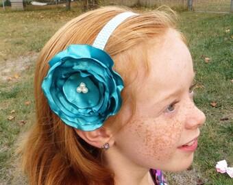 Baby Girl Headband and Flowers, Baby Flower Headbands, Aqua Headbands, Baby Headband Flower Bows, Aqua Flower Headband, Aqua Hair Flower