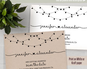 Printable Save the Date, Wedding templates, Instant download self editable PDF S123
