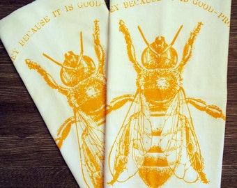 Set of 2 - HONEY BEE - Multi-Purpose Flour Sack Bar Towels - Renewable Natural Cotton