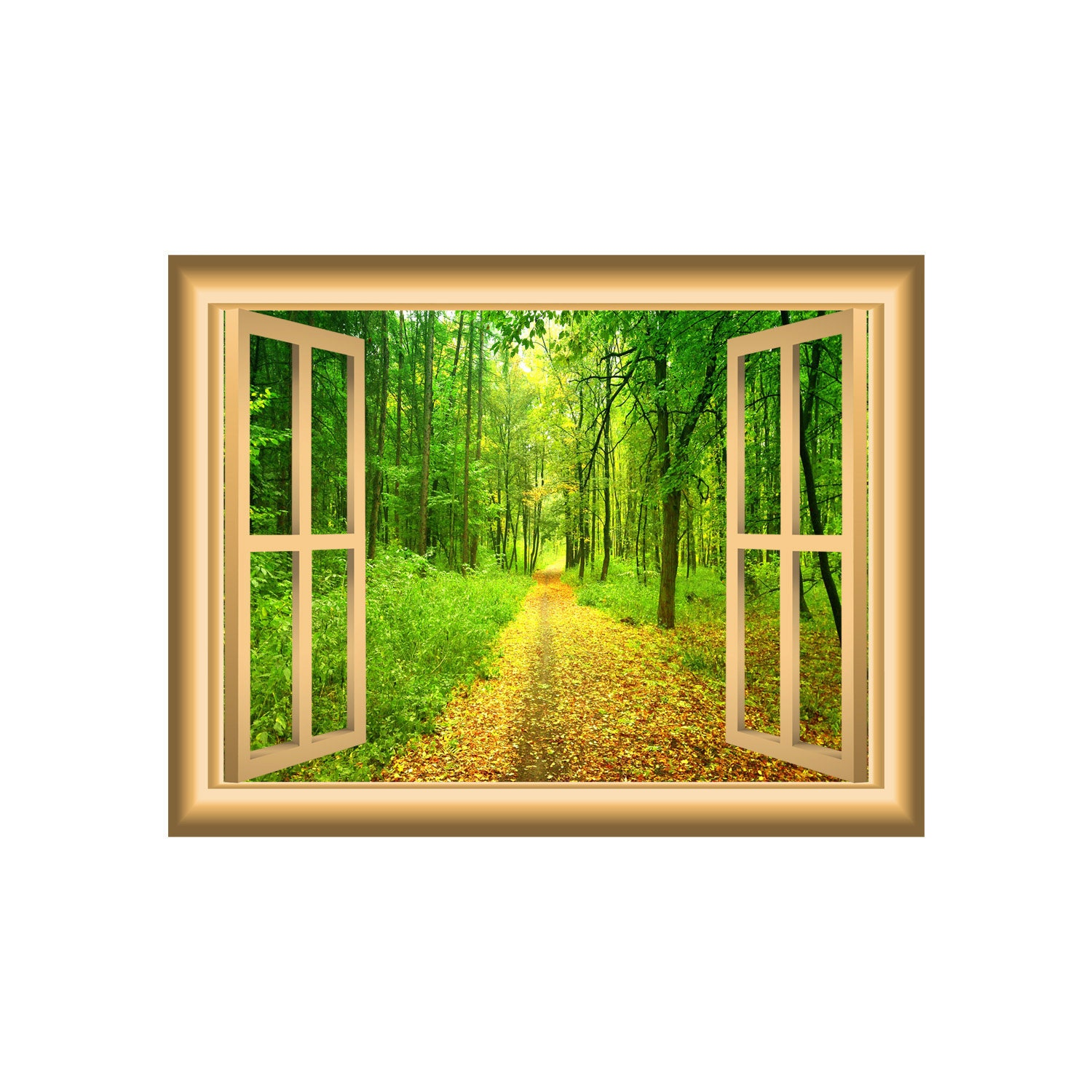 Trail and Trees Forest 3D Wall Art Decal Window Frame Peel &