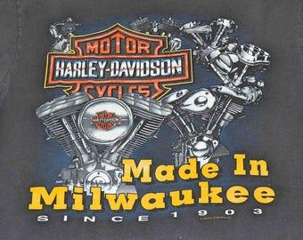 Harley Davidson Made In Milwaukee Wisconson Vintage 1992 T-Shirt Medium 100% Cotton Made In USA