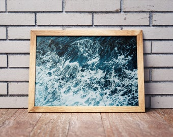 Foamy Sea Water Print, Ocean Foam Photo Wall Art, Blue Sea Swash, Blue Room Decor, Digital Download Printable Art
