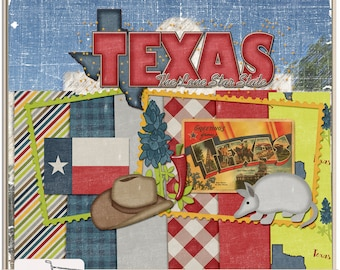 United States Texas Mini Digital Scrapbook Kit