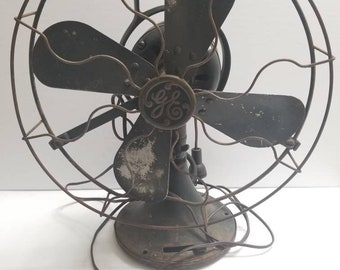 Vintage green general electric fan , parts only