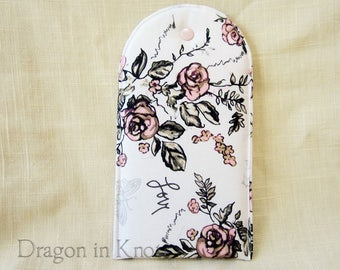 Large Smartphone Sleeve - Padded Cellphone Case, Pink Roses on White, Joie de Vivre French Chic Cotton Gadget Protector, Mobile Phone Pouch