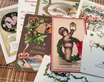 Vintage Holiday Postcard Assortment--Christmas