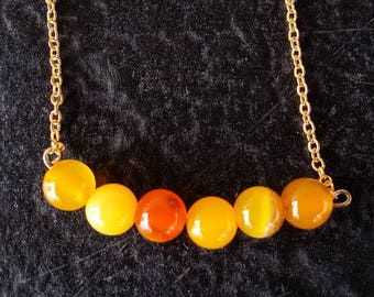 18 kt Gold Chain and Carnelian Beaded Necklace