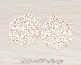 PDT209-01-RG // Glossy Rose Gold Plated SMALL Gothic Filigree Pendant, 2 Pc