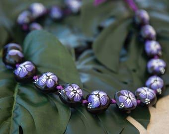 KUKUI NUT LEI - Hand Painted Purple Hibiscus