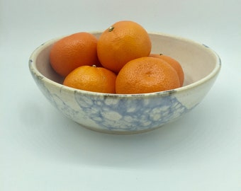 Large white and blue ceramic bowl
