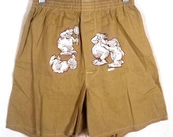 vtg 70s retro 1973 dated Novelty TINY PENIS Theme Boxer Shorts Underwear sz S