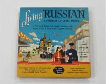 Living Russian A Complete Language Course 1950s Listen and Repeat Record Box Set