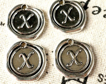 Alphabet letter X wax seal charm silver vintage style jewellery supplies