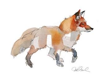"Fox Giclee Print 8x 10"" watercolor wall decor Art Prints Painting Contemporary Art Animal Art"
