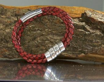 Men's secret message bracelet, men's personalized bracelet, men's leather bracelet, men's metal bracelet, quote jewelry, Father's Day gift