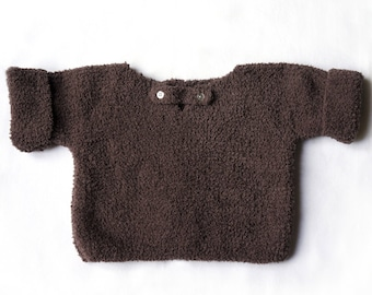 2 years: striped sweater hand knitted in wool stuffed chocolate color