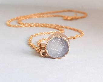 Gray Druzy Necklace, Layering Necklace, Raw Druzy Necklace, Dainty Necklace, Small Circle Pendant, Druzy Agate, Gold Druzy, Stone Pendant