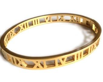 Gold Roman Numeral Bangle