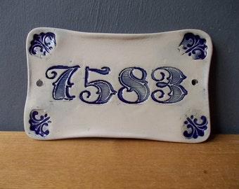 Your House Number / Door Number / Door Decor / Vintage decor / Door Plaque / Numerals / Blue sign / Door Sign