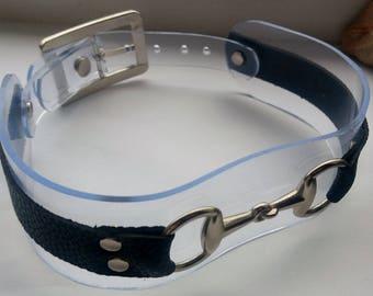 Clear PVC Collar, Faux Leather Collar, O Ring Collar, Pony Play, BDSM Collar, Pet Play Collar, Fetish, Vinyl, Burning Man, Goth, DDLG