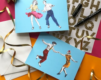 Swing Dance Lindy Hop Set: x2 A6 greetings cards with envelopes, blank cards, birthday cards, original illustrations, illustrated cards