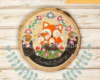 Woodland Nursery Decor,Woodland Wall Art,Nursery Wall Art,Fox Wall Art,Baby Shower GIft,For Baby,New Baby,Baby's Room,Woodslice Painting