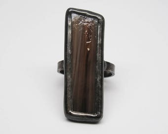 Driftwood - Sterling Silver Stained Glass Ring - Size 8.5