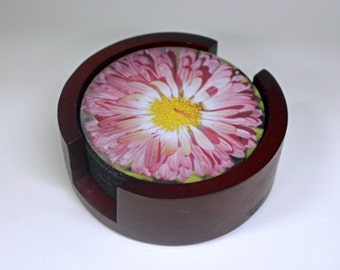 Pink Daisy Flower Coaster Set of 5 with Wood Holder