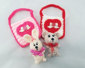 Valentine's Day gift for her Mini toys Crochet bunny knitted bear in bag heart ornament girls gift for girl kids party favors crochet bags
