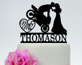 Motorcycle Wedding Cake Topper,Mr And Mrs Cake Topper,Groom On Motorcycle,Custom Cake Topper,Funny Cake Topper,Motorbike Cake Topper  C187