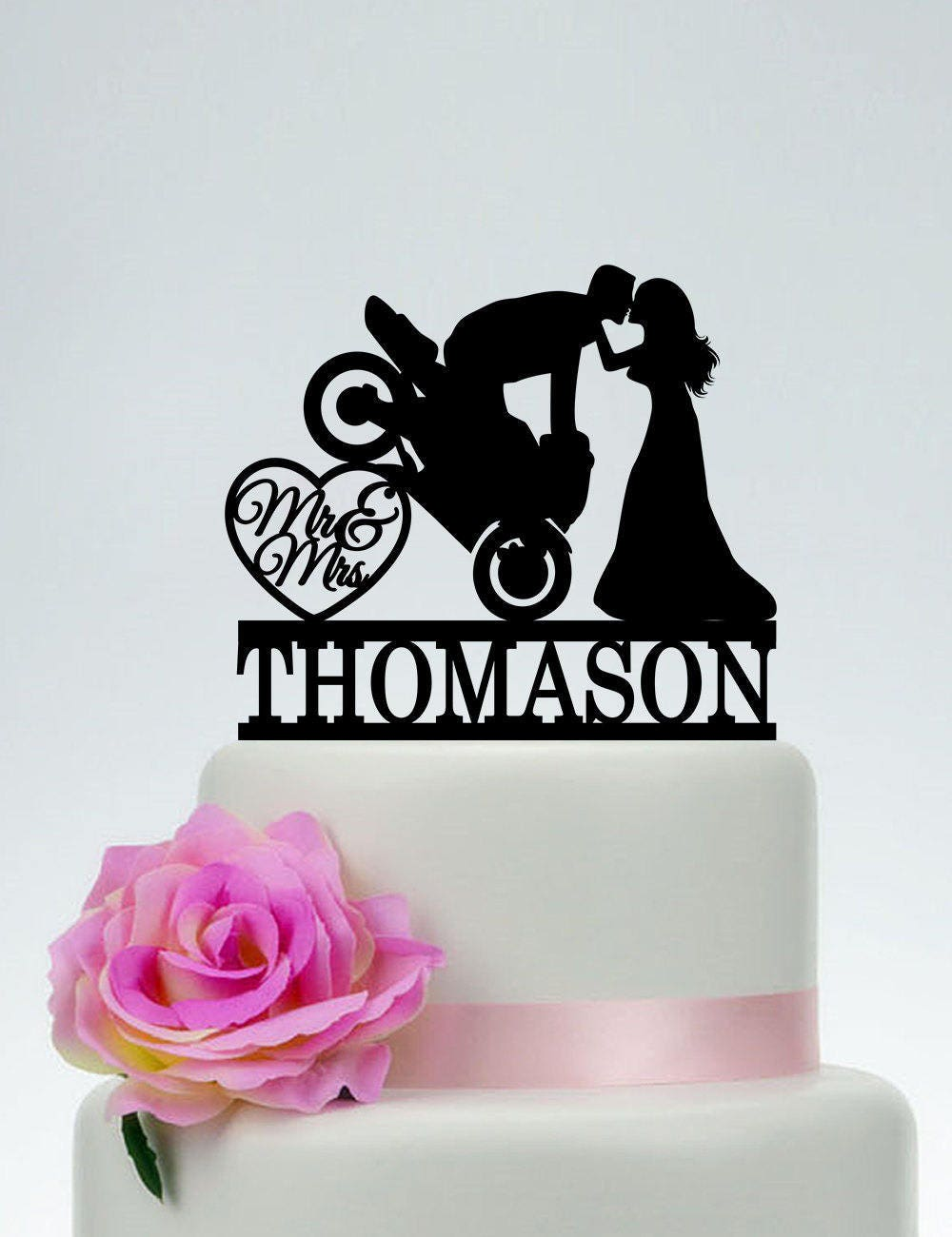 Motorcycle Wedding Cake TopperMr And Mrs Cake TopperGroom On